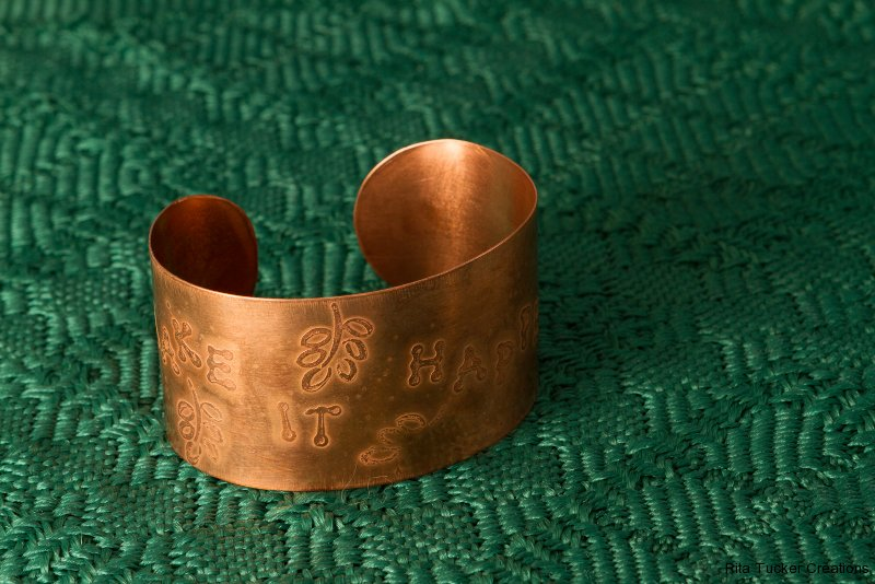 """Make It Happen"" etched copper bracelet"