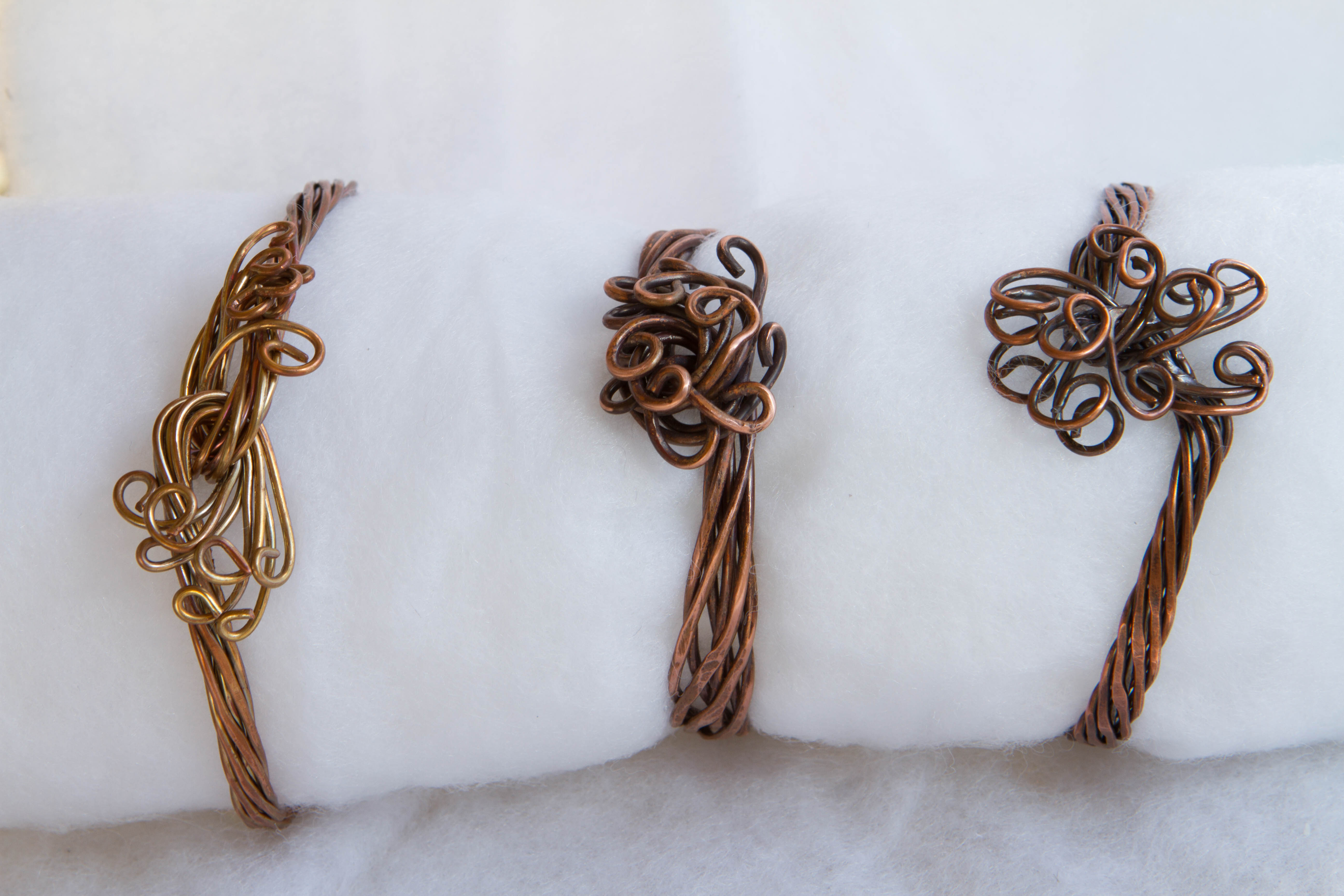 variety of copper wire wrap bracelets
