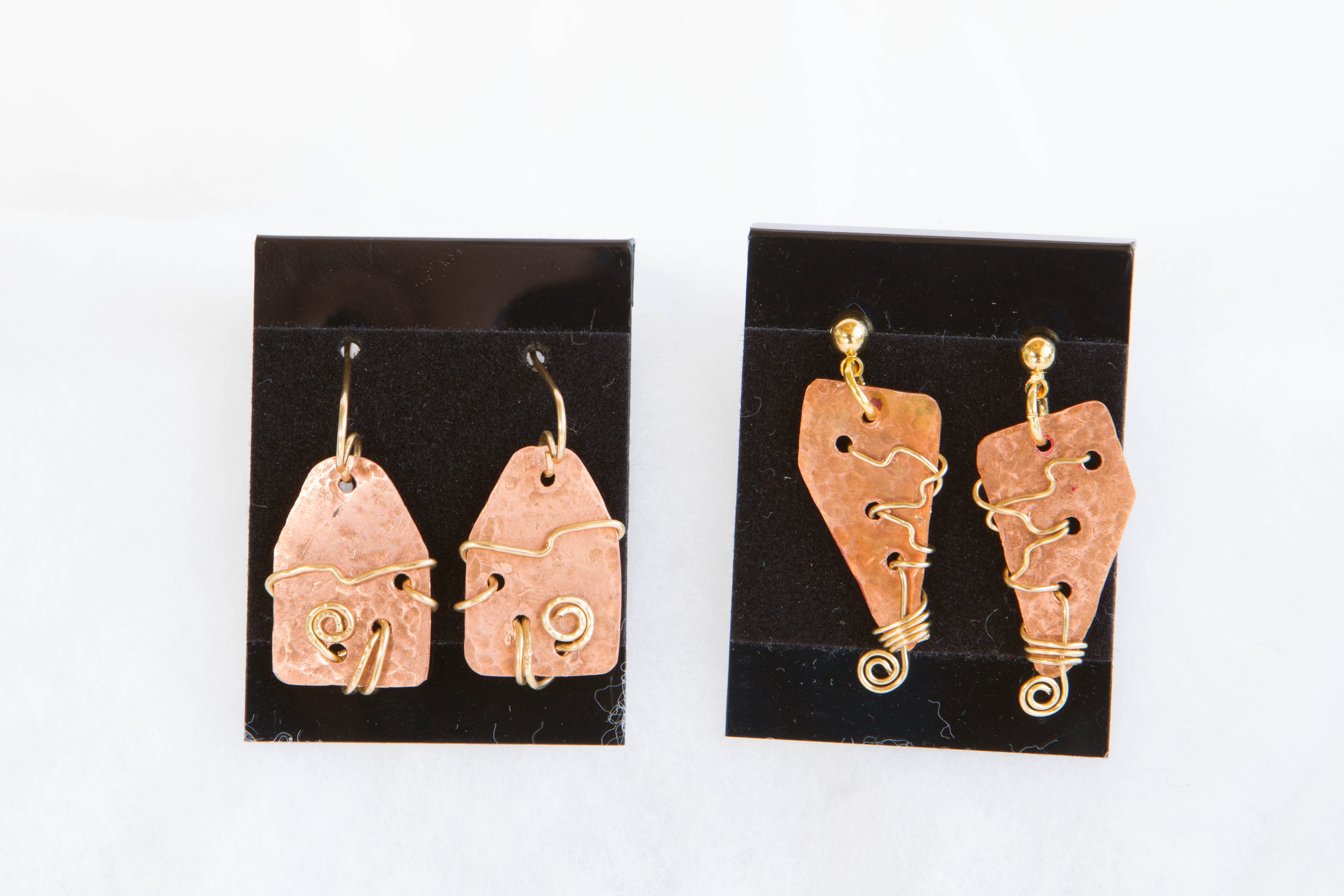 recycled copper with gold colored wire wrap