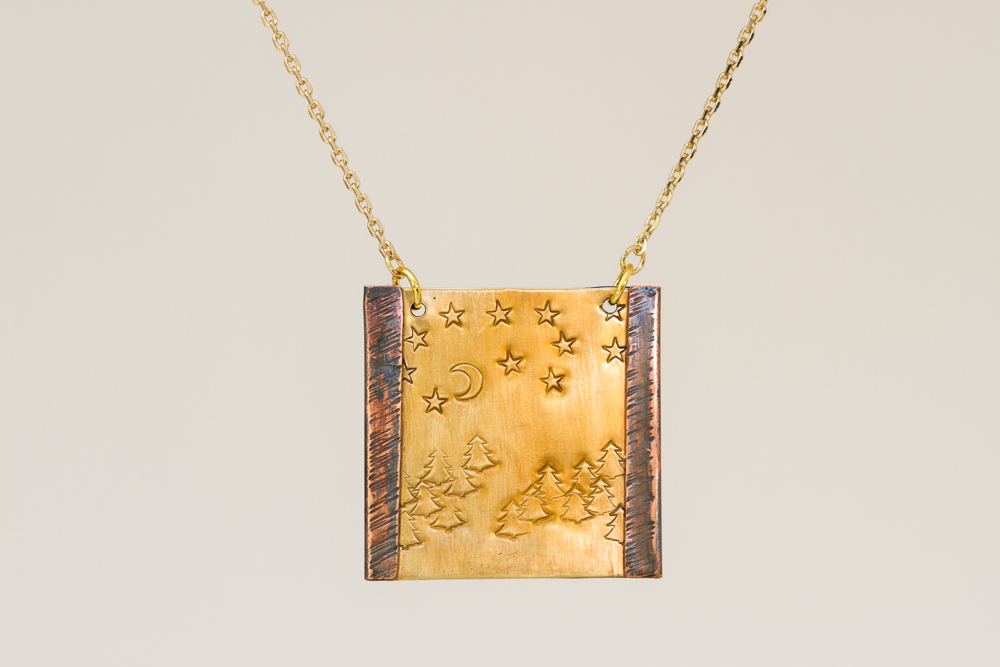 pendant, copper folded over brass