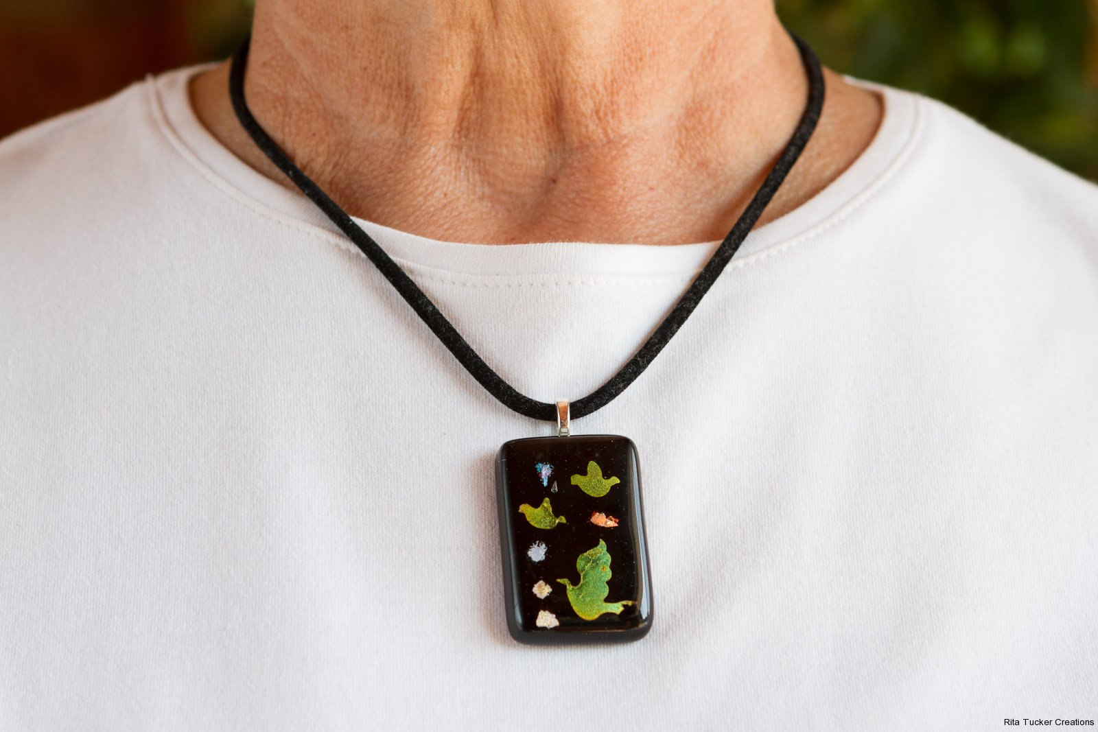 3 D fused glass pendant
