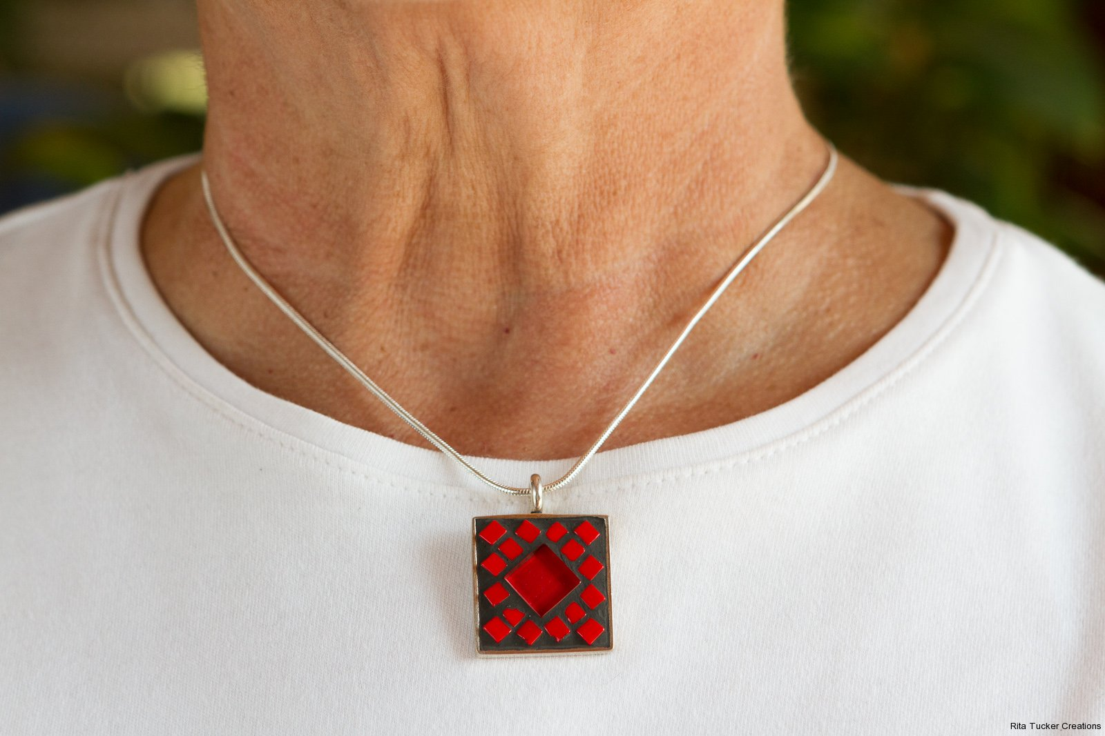 red glass mosaic pendant