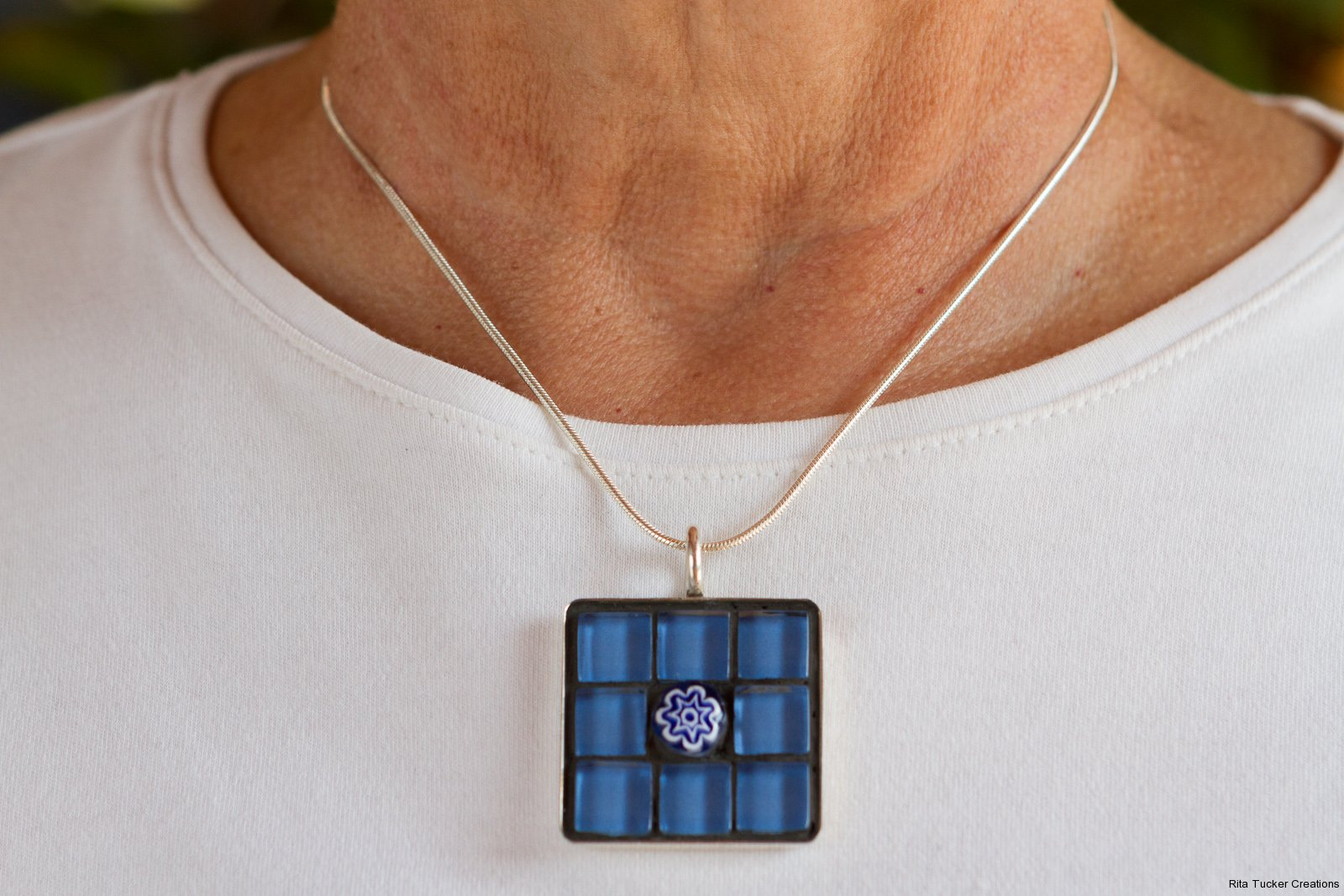 blue glass mosaic pendant