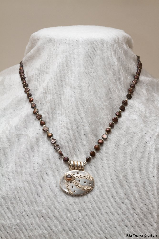 Necklace - Sterling Silver with brown pearls