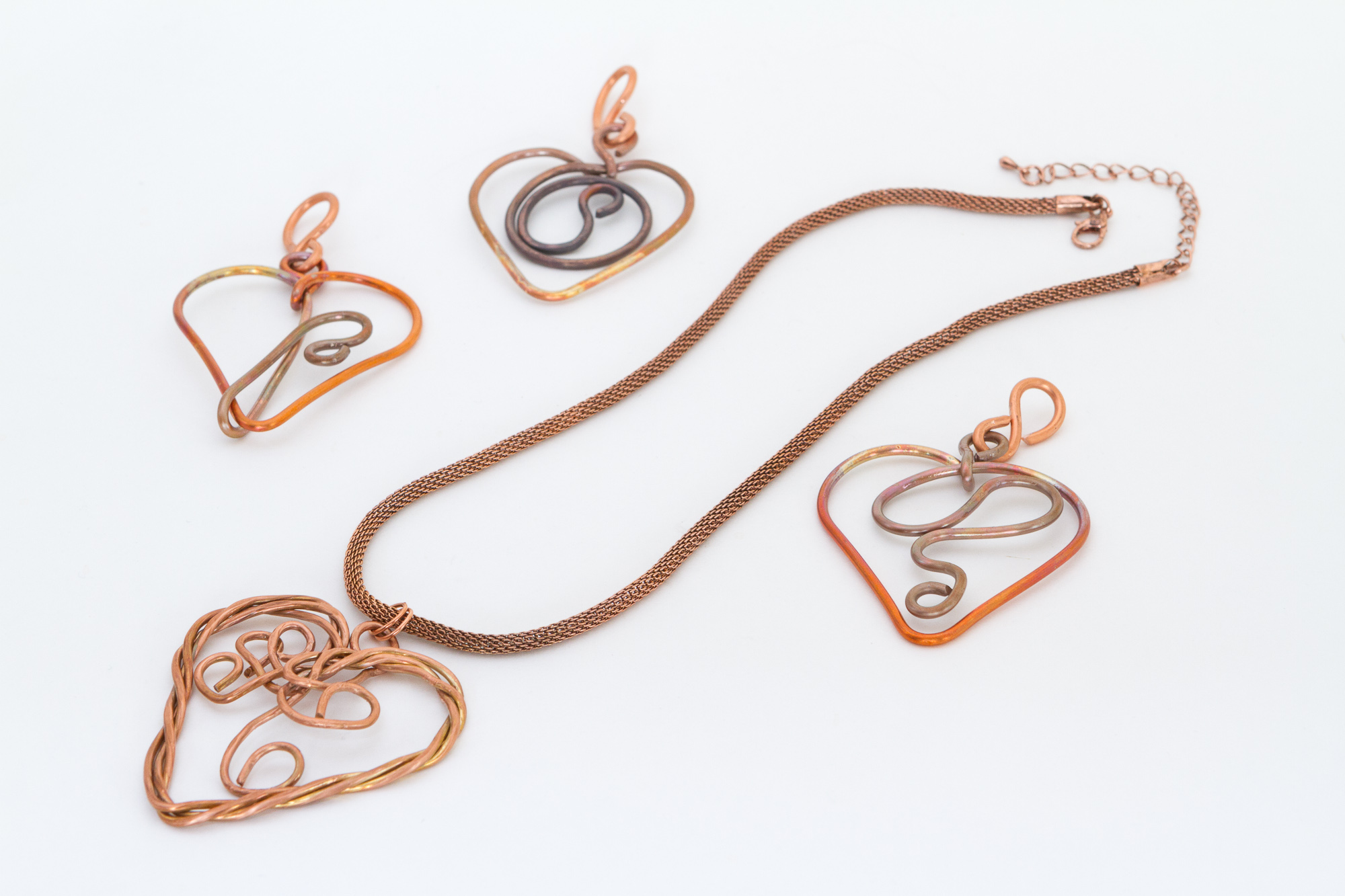 wire wrap heart pendants