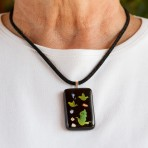 3-D fused glass with birds pendant