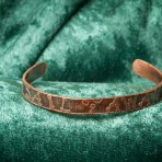 Recycled copper bracelet with inspirational theme