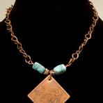 Etched fat bird copper pendant