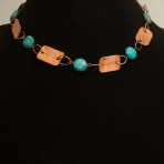 Hammered copper necklace/bracelet combo with turquoise beads