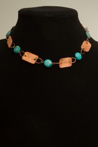necklace of copper rectangles with turquoise beads