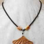 Walnut ginko leaf pendant
