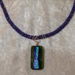 Fused glass pendant green/blue