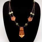 Chip Carved Juniper Necklace with green stones