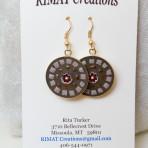 White/brown mosaic earrings