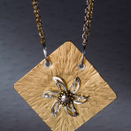 silver and brass riveted necklace with star design