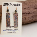Heart etched copper strip earrings